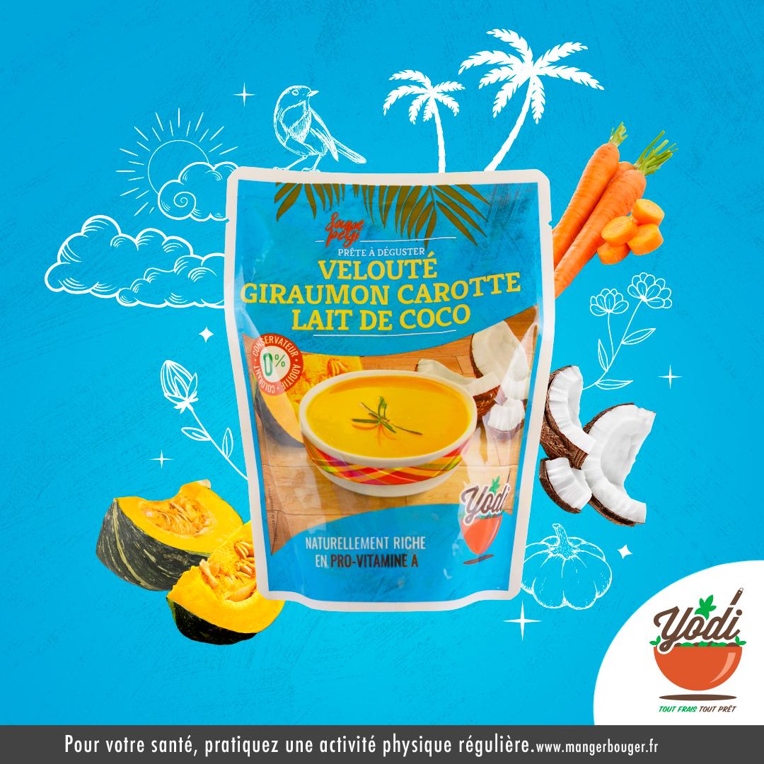 Publicité Yodi saveur giraumon carotte lait de coco
